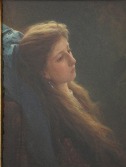 """Girl with a Loose Braid,"""" 1873, oil on canvas, Tretyakov Gallery, Moscow."""